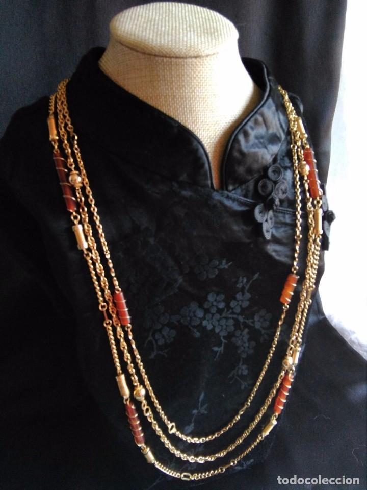 Joyeria: Collar vintage de cadenas en dorado con cilindros de lucite años 70 80 - Foto 3 - 89751804