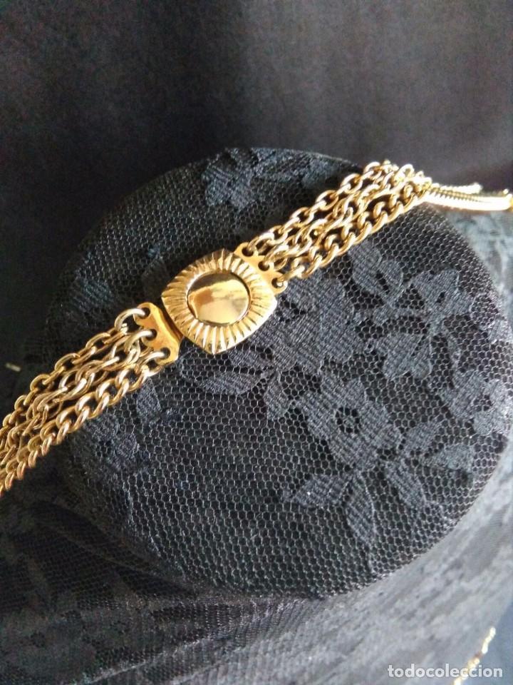 Joyeria: Collar vintage de cadenas en dorado con cilindros de lucite años 70 80 - Foto 4 - 89751804