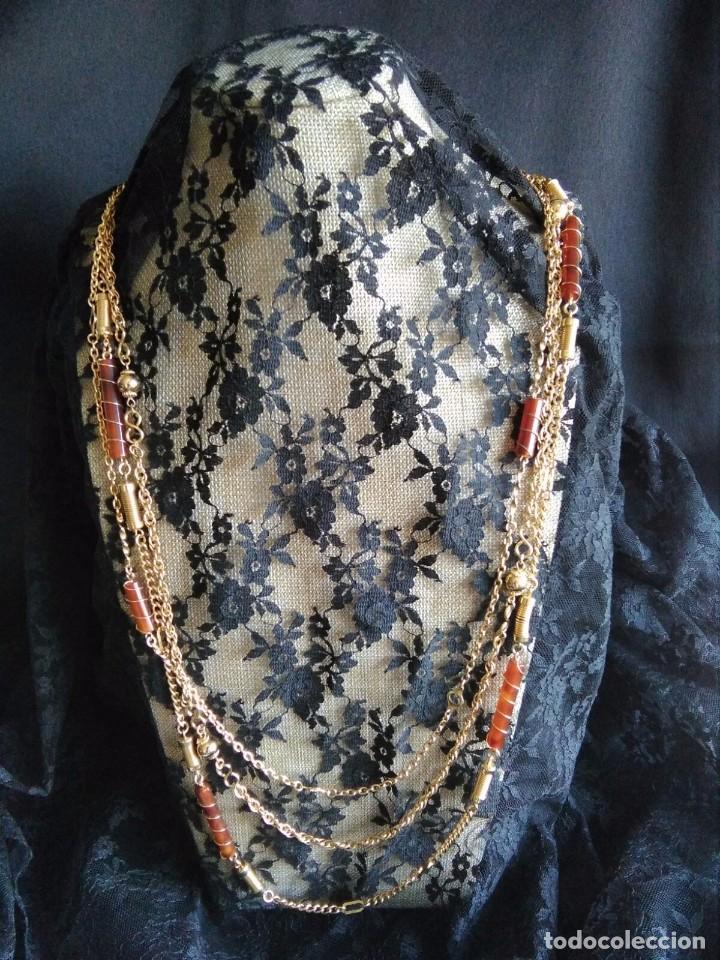 Joyeria: Collar vintage de cadenas en dorado con cilindros de lucite años 70 80 - Foto 5 - 89751804
