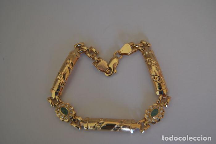 Joyeria: Pulsera de oro 18 kt.,con rosetas de Esmeraldas . - Foto 7 - 122953000