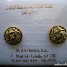 Joyeria: PENDIENTES ADAMASQUINADOS CON MOTIVOS HISPANO ARABES. Lote 90569765