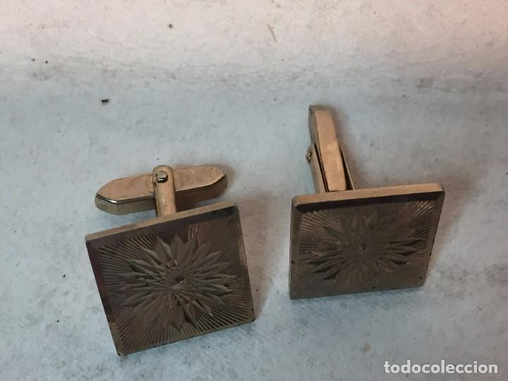 Joyeria: Gemelos cuadrado flor vintage metal dorado 13,3 gramos - Foto 3 - 90763035
