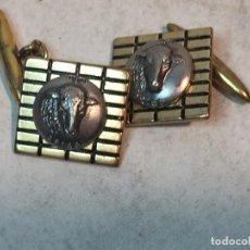 Joyeria: GEMELOS CUADRADO VINTAGE ARIES CARNERO ZODÍACO METAL DORADO 11,8 GRAMOS. Lote 90763110