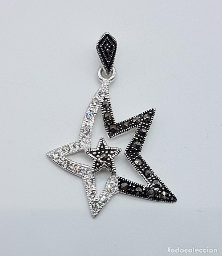 colgante vintage con forma de estrella en plata de ley circonitas y marquesitas talla brillante