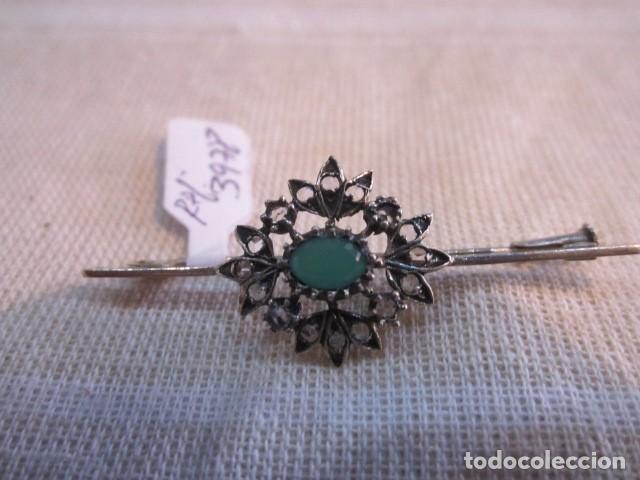 Joyeria: Broche alfiler, de metal plateado y cristales. 5 cms. - Foto 2 - 90960705