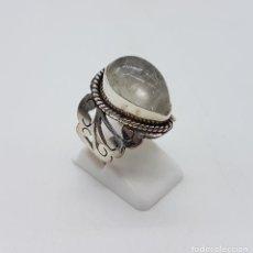 Jewelry - Magnífico anillo antiguo en plata de ley cincelada a mano con cabujón de cuarzo ahumado rutilado . - 92113750