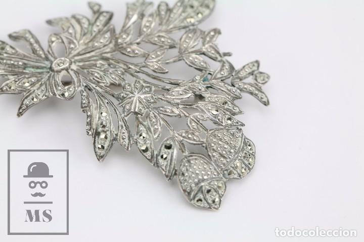 Joyeria: Broche de Plata Calada y Cristales Brillantes - Ramillete de Flores - Medidas 4,5 x 5,5 cm - Foto 2 - 92779595