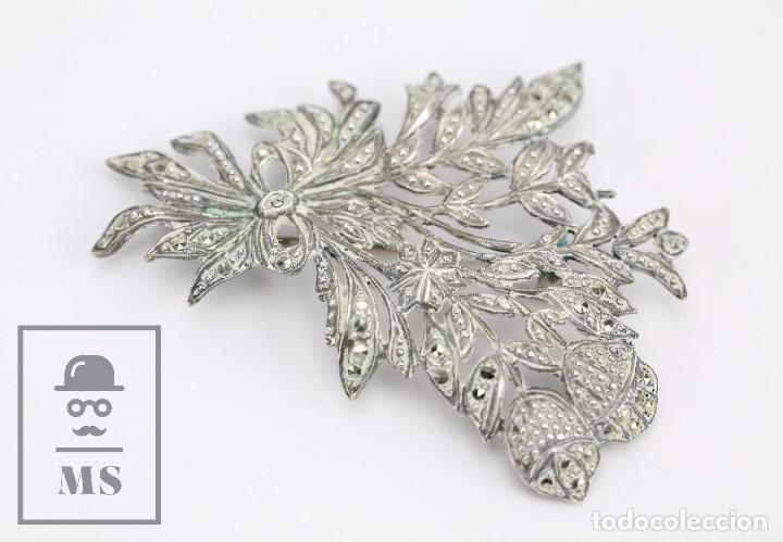 Joyeria: Broche de Plata Calada y Cristales Brillantes - Ramillete de Flores - Medidas 4,5 x 5,5 cm - Foto 5 - 92779595