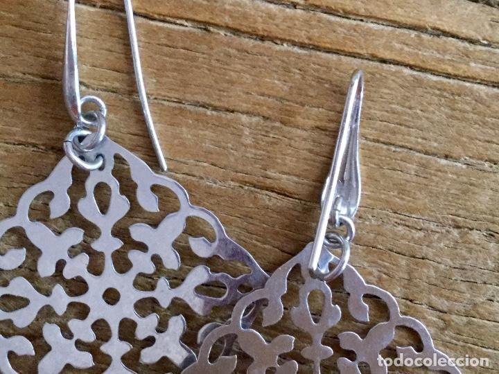Joyeria: Pendientes largos de plata con dos grandes rombos de filigrana - Foto 2 - 93016290