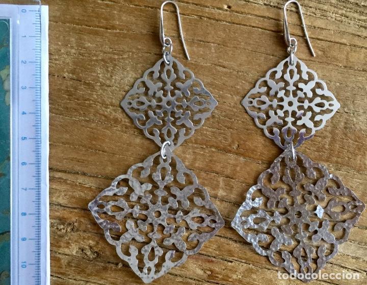 Joyeria: Pendientes largos de plata con dos grandes rombos de filigrana - Foto 4 - 93016290