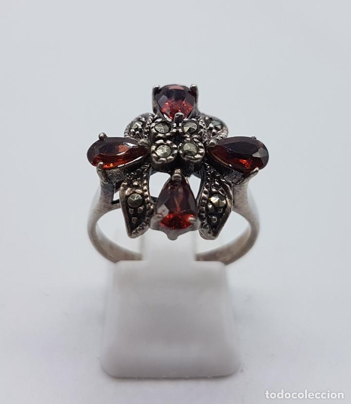 Joyeria: Anillo antiguo en plata de ley contrastada con granates talla pera y marquesitas talla brillante . - Foto 3 - 93120220