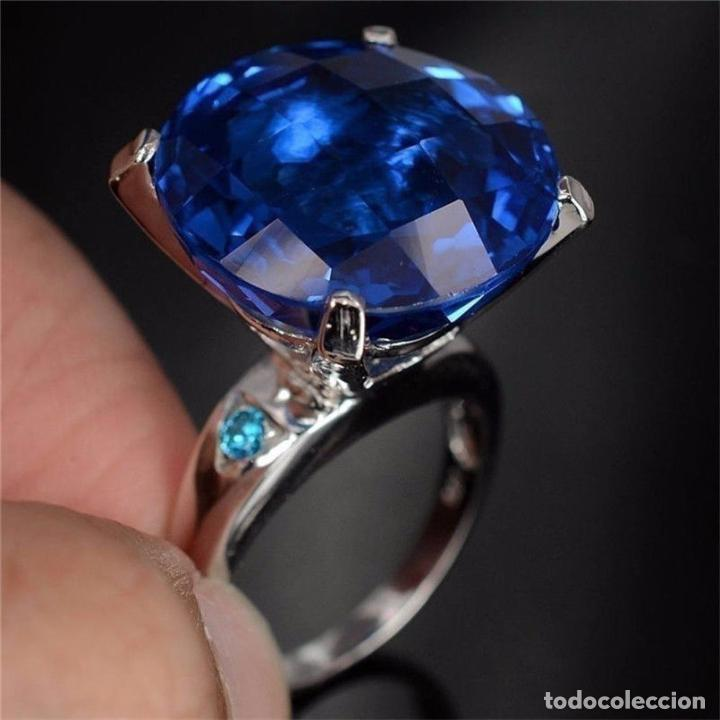 ef7862e5d0ad Precioso anillo en plata 925 con bello zafiro c - Vendido en Subasta ...