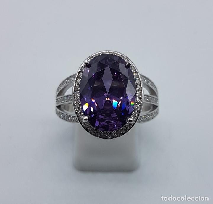 Joyeria: Impresionante anillo tipo marquesa en plata de ley, pavé de circonitas y gran amatista talla oval . - Foto 2 - 152959077