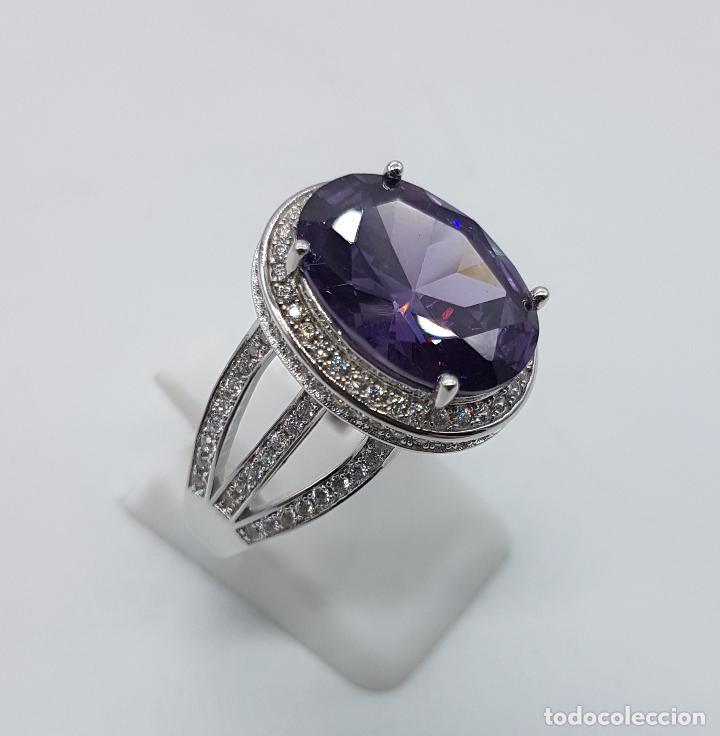 Joyeria: Impresionante anillo tipo marquesa en plata de ley, pavé de circonitas y gran amatista talla oval . - Foto 3 - 152959077