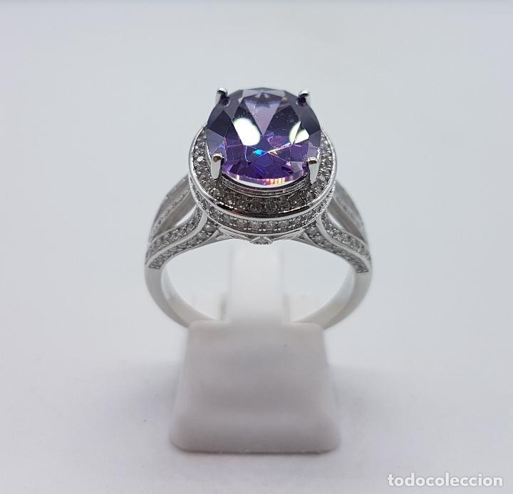 Joyeria: Impresionante anillo tipo marquesa en plata de ley, pavé de circonitas y gran amatista talla oval . - Foto 4 - 152959077
