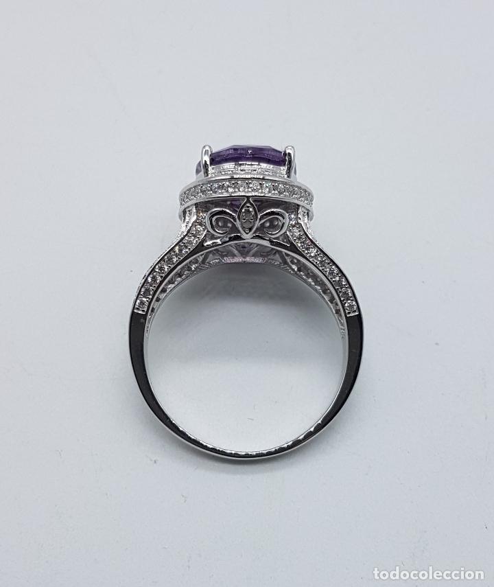 Joyeria: Impresionante anillo tipo marquesa en plata de ley, pavé de circonitas y gran amatista talla oval . - Foto 5 - 152959077