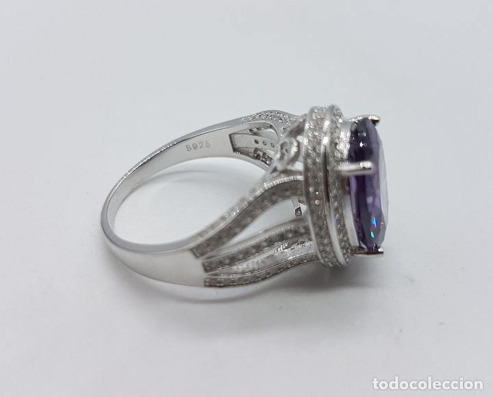 Joyeria: Impresionante anillo tipo marquesa en plata de ley, pavé de circonitas y gran amatista talla oval . - Foto 6 - 152959077