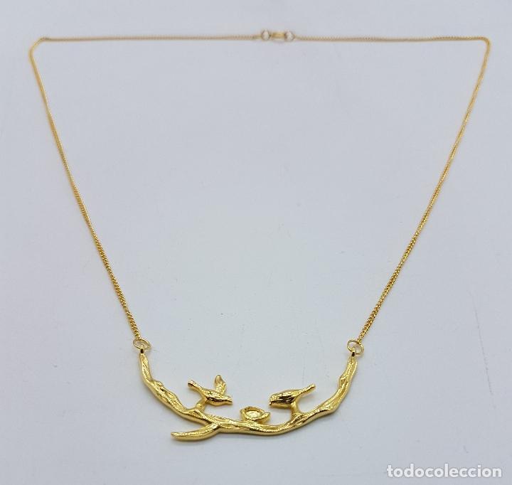 Joyeria: Bella gargantilla vintage en plata de ley contrastada y oro de 18k, con aves y nido en relieve . - Foto 4 - 93934250