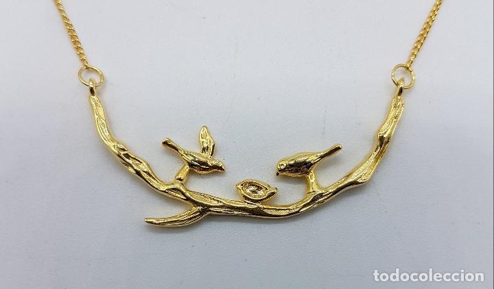 Joyeria: Bella gargantilla vintage en plata de ley contrastada y oro de 18k, con aves y nido en relieve . - Foto 6 - 93934250