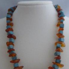 Joyeria - Art Deco collar de turquesa natural y ámbar natural - 94027110