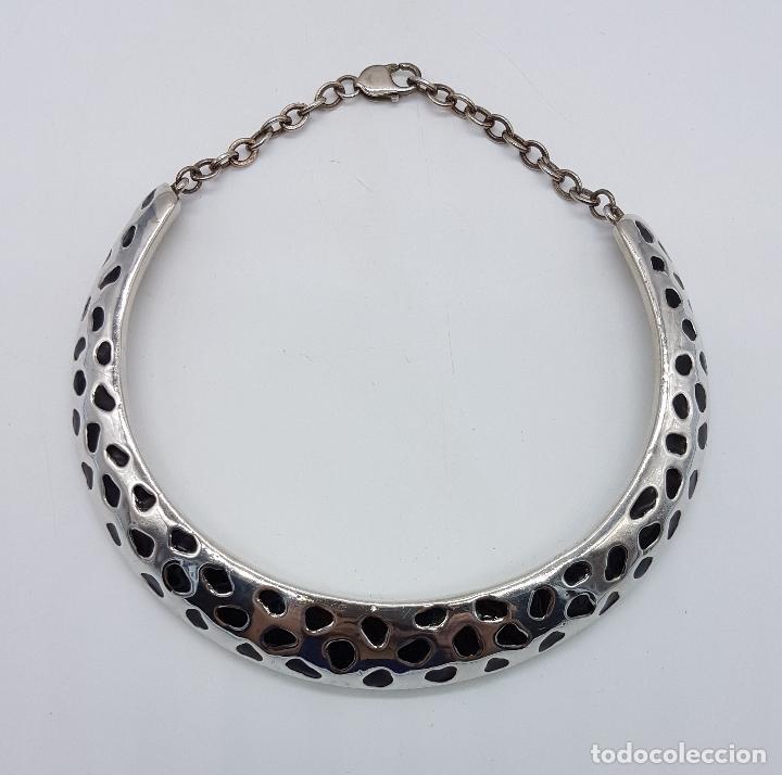 Joyeria: Original gargantilla vintage en plata de ley contrastada y motivo tipo animal print en esmalte negro - Foto 5 - 94341018