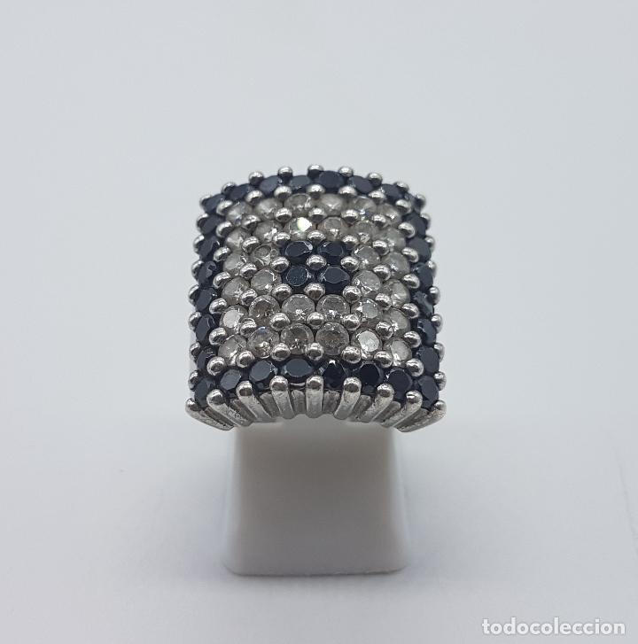 Joyeria: Gran anillo antiguo en plata de ley contrastada y pavé de circonitas y azabache talla brillante . - Foto 3 - 94761547