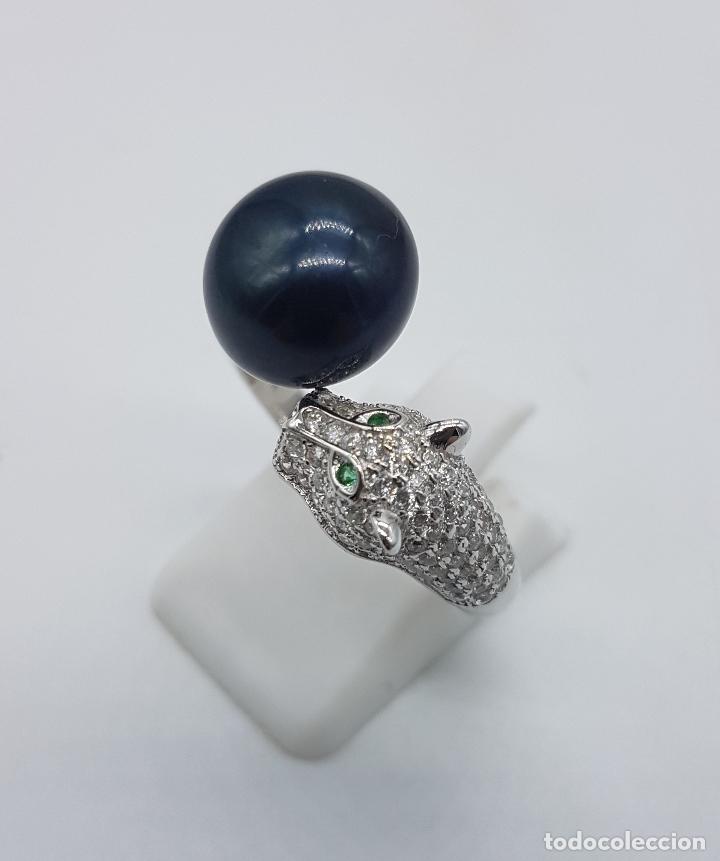 Joyeria: Magnífica sortija vintage en plata de ley de lujo con perla negra auténtica, circonitas y esmeraldas - Foto 2 - 225225677