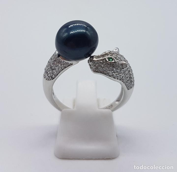 Joyeria: Magnífica sortija vintage en plata de ley de lujo con perla negra auténtica, circonitas y esmeraldas - Foto 3 - 225225677