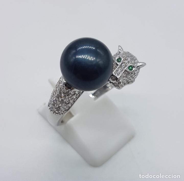 Joyeria: Magnífica sortija vintage en plata de ley de lujo con perla negra auténtica, circonitas y esmeraldas - Foto 4 - 225225677