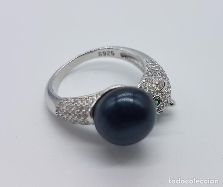 Joyeria: Magnífica sortija vintage en plata de ley de lujo con perla negra auténtica, circonitas y esmeraldas - Foto 6 - 225225677