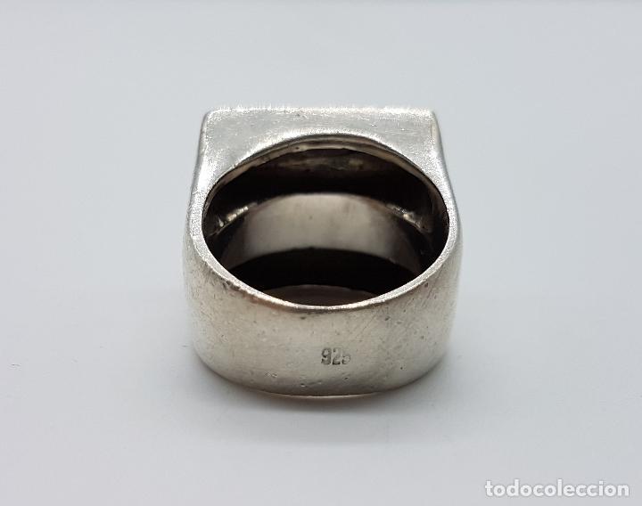 Joyeria: Gran anillo antiguo estilo pop art en plata de ley contrastada y aplicaciones de azabache auténtico. - Foto 6 - 94989847