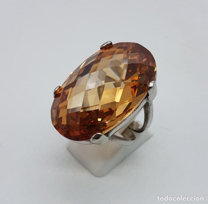 Joyeria: Espectacular anillo antiguo en plata de ley contrastada con gran topacio dorado imperial talla oval. - Foto 2 - 172840198
