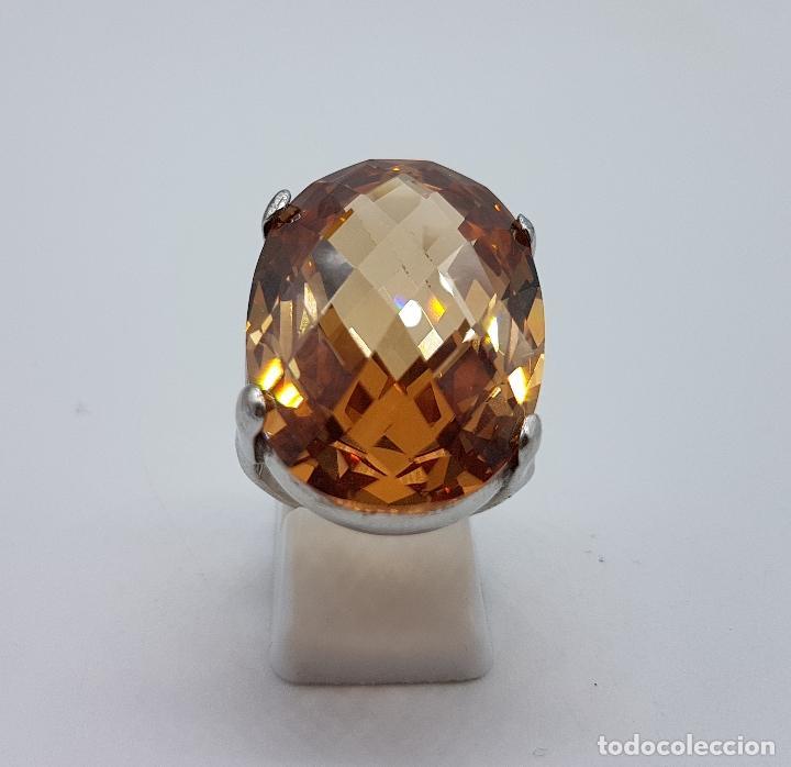 Joyeria: Espectacular anillo antiguo en plata de ley contrastada con gran topacio dorado imperial talla oval. - Foto 3 - 172840198
