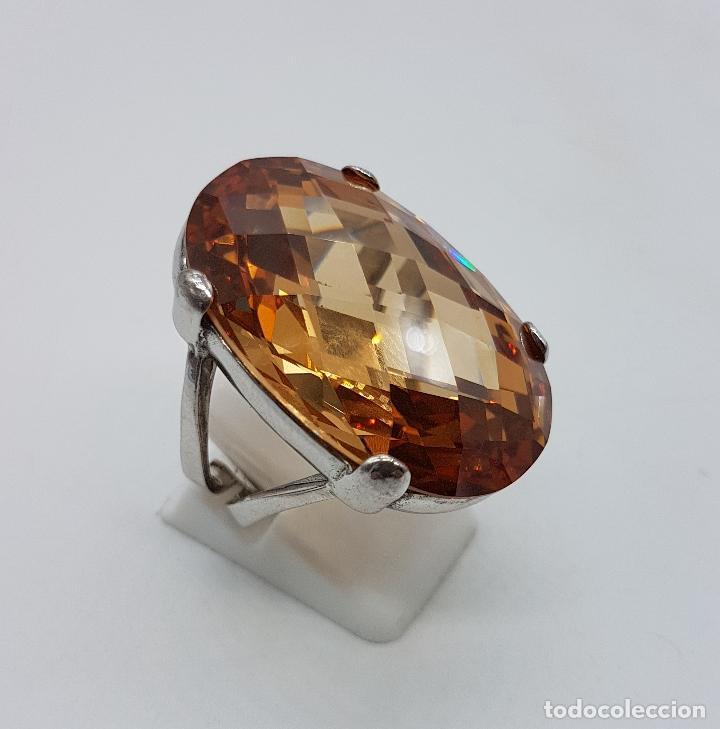 Joyeria: Espectacular anillo antiguo en plata de ley contrastada con gran topacio dorado imperial talla oval. - Foto 4 - 172840198