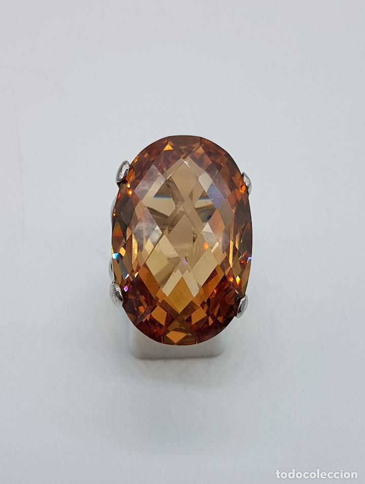 Joyeria: Espectacular anillo antiguo en plata de ley contrastada con gran topacio dorado imperial talla oval. - Foto 5 - 172840198