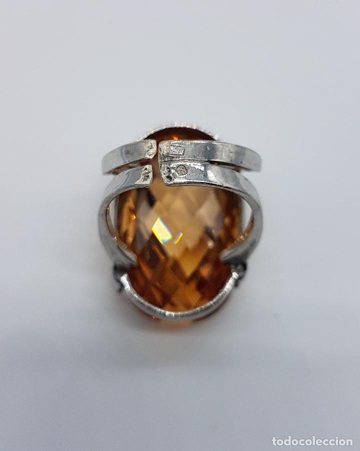 Joyeria: Espectacular anillo antiguo en plata de ley contrastada con gran topacio dorado imperial talla oval. - Foto 6 - 172840198