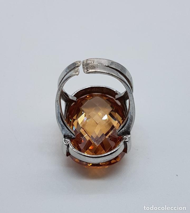 Joyeria: Espectacular anillo antiguo en plata de ley contrastada con gran topacio dorado imperial talla oval. - Foto 7 - 172840198