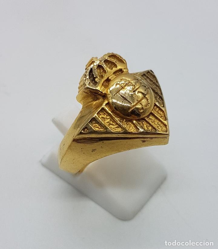 Joyeria: Gran anillo tipo sello en plata de ley contrastada y oro de 18k cincelado ( Real Betis Balompié ). - Foto 3 - 95432571