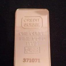 Joyeria: LINGOTE CHAPADO EN ORO CRÉDIT SUISSE FINE GOLD. Lote 95623279