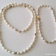 Joyeria: 14KT GOLD PEARL NECKLACE AND BRACELET JEWELRY SET. Lote 95785471