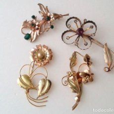Joyeria: VINTAGE 12KT GOLD FILLED AND 925/1000 SILVER FLORAL BROOCHES COLLECTION. Lote 95839179