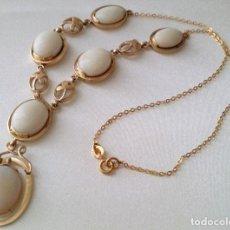 Joyeria: ORO 14K GOLD WHITE OPAL NECKLACE. Lote 95915627