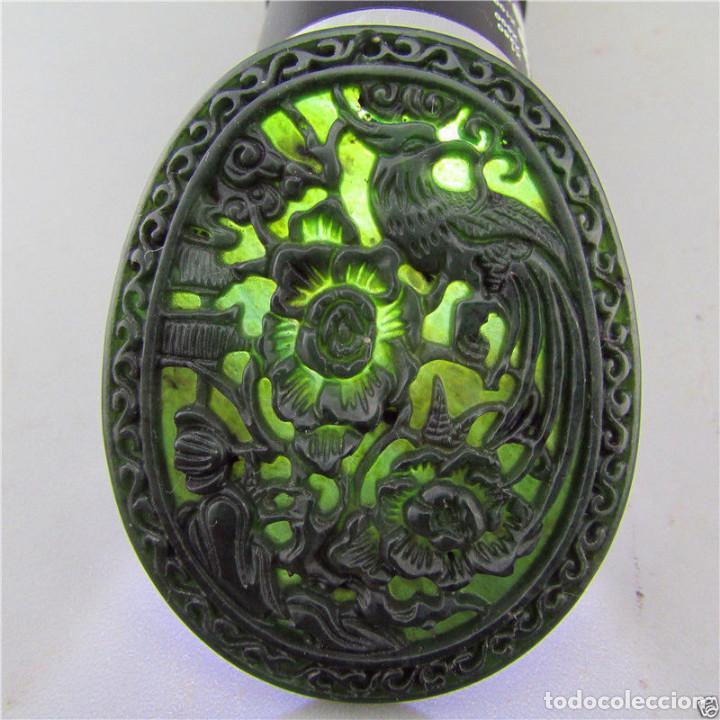 Joyeria: Colgante de jade verde natural , Ave y flor - Foto 2 - 96099583