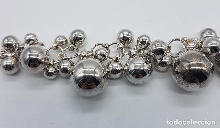 Joyeria: Original pulsera vintage en plata de ley contrastada con dijes en forma de perla de varios tamaños . - Foto 6 - 96802899