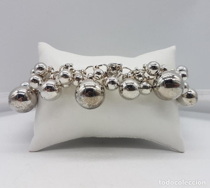 Joyeria: Original pulsera vintage en plata de ley contrastada con dijes en forma de perla de varios tamaños . - Foto 8 - 96802899