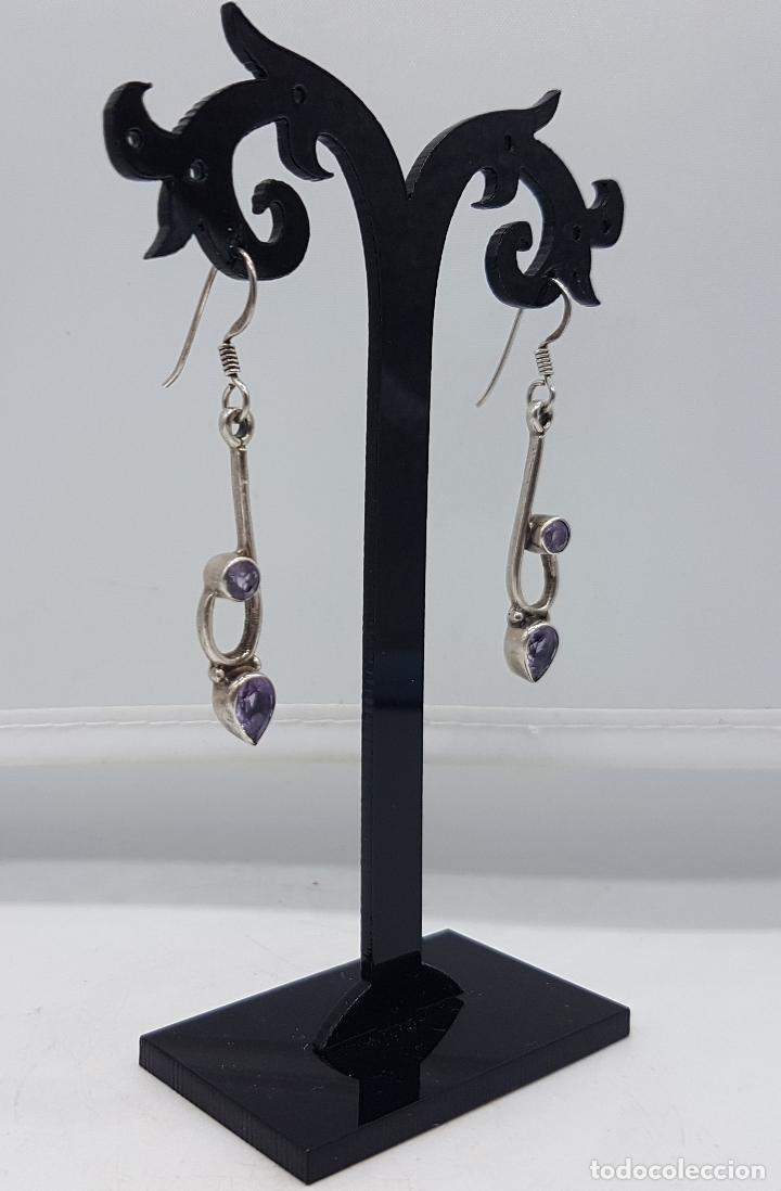 Joyeria: Pendientes vintage en plata de ley contrastada con amatistas talla pera y diamante incrustados . - Foto 2 - 96943027