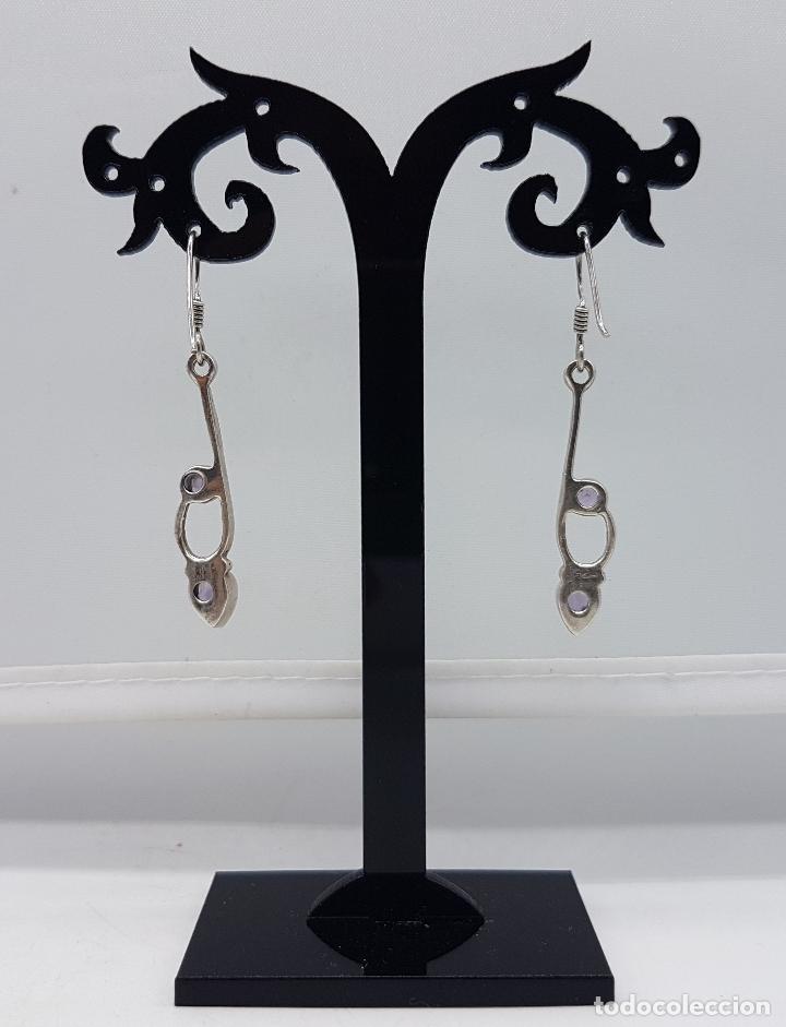 Joyeria: Pendientes vintage en plata de ley contrastada con amatistas talla pera y diamante incrustados . - Foto 3 - 96943027