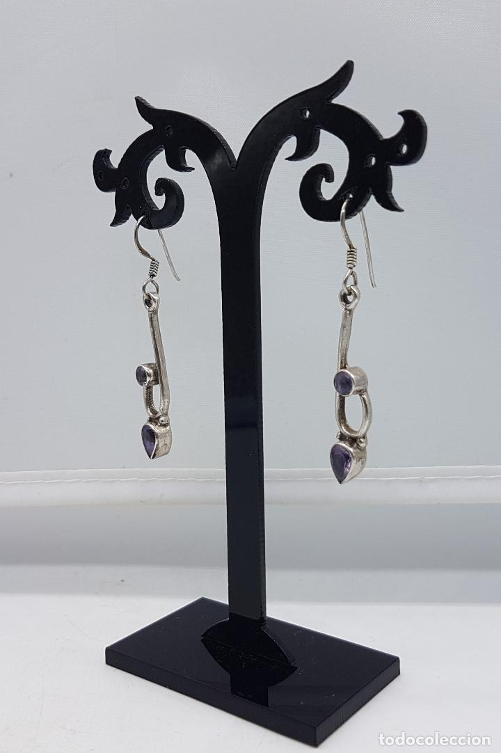 Joyeria: Pendientes vintage en plata de ley contrastada con amatistas talla pera y diamante incrustados . - Foto 4 - 96943027