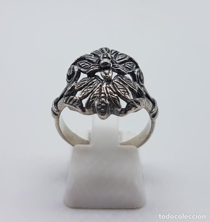 Joyeria: Bella sortija antigua en plata de ley punzunada y bellamente cincelada a mano, de estilo Victoriano. - Foto 4 - 97054531