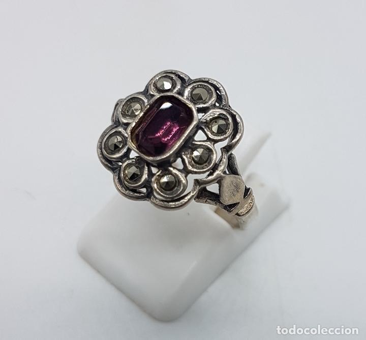 Joyeria: Sortija antigua en plata de ley punzonada con amatista talla esmeralda y marquesitas talla brillante - Foto 3 - 180028201